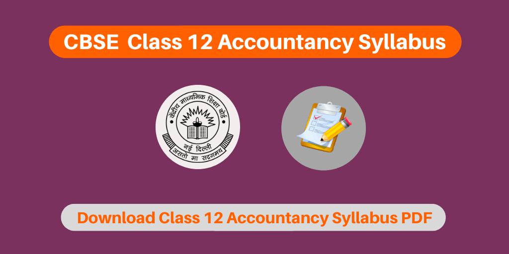 CBSE Class 12 Accountancy Syllabus