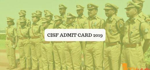 CISF Admit Card 2019