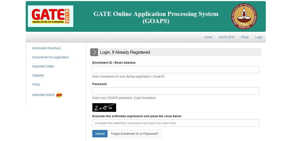 GATE Login Page