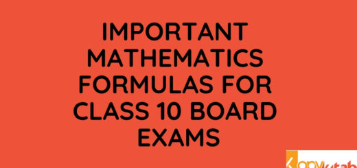 Important Mathematics Formulas for Class 10 Board Exams