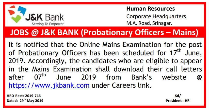 JK Bank PO Official Notification