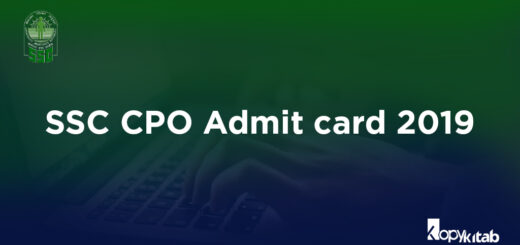 SSC CPO Admit Card 2019
