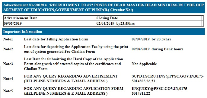 PPSC Recruitment   Apply for 864 Principal,Head Master & BPEO Posts