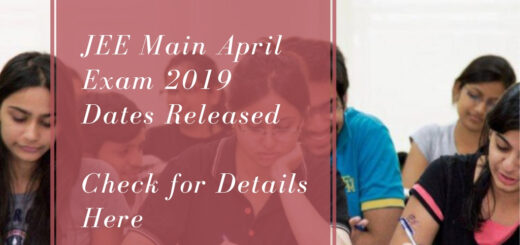 JEE Main April Exam 2019 Dates Released