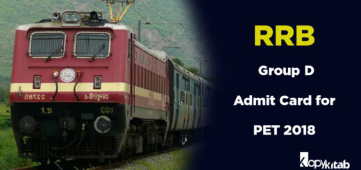 RRB Group D Admit Card for PET 2018