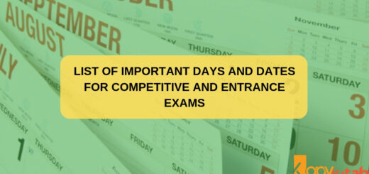 List of Important Days and Dates for Competitive and Entrance exams