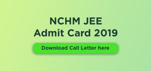 NCHM JEE Admit Card 2019