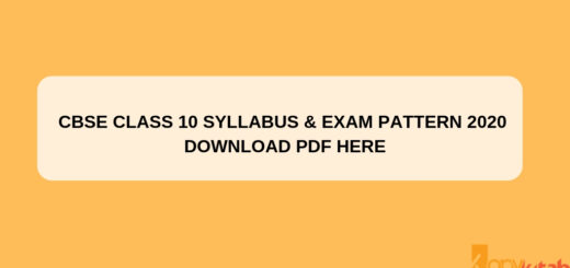 CBSE Class 10 Syllabus & Exam Pattern 2020 Download PDF Here