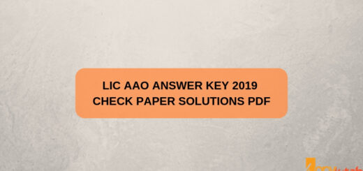 LIC AAO Answer Key 2019 Check Paper Solutions PDF