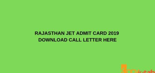 Rajasthan JET Admit Card