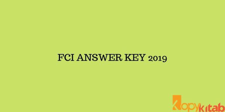 FCI ANSWER KEY 2019