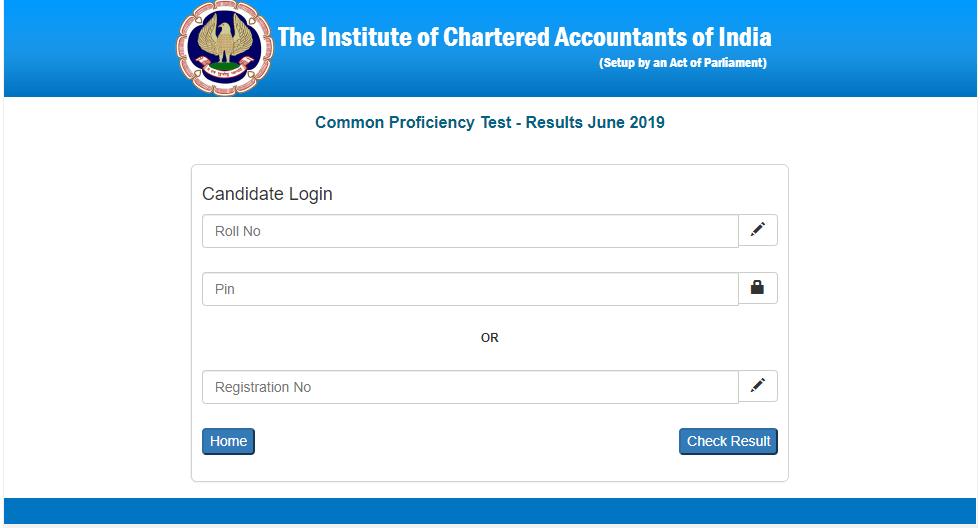 ICAI CA CPT Result website