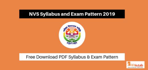 NVS Syllabus and Exam Pattern 2019
