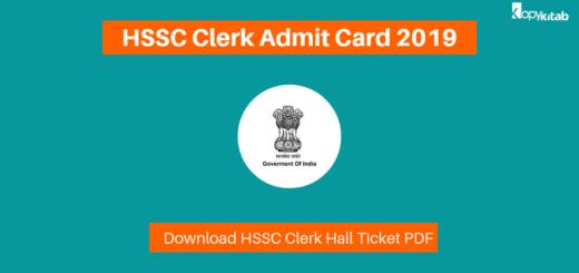 HSSC Clerk Admit Card 2019