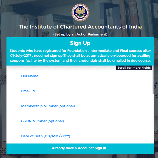 ICAI Signed Up For New Account