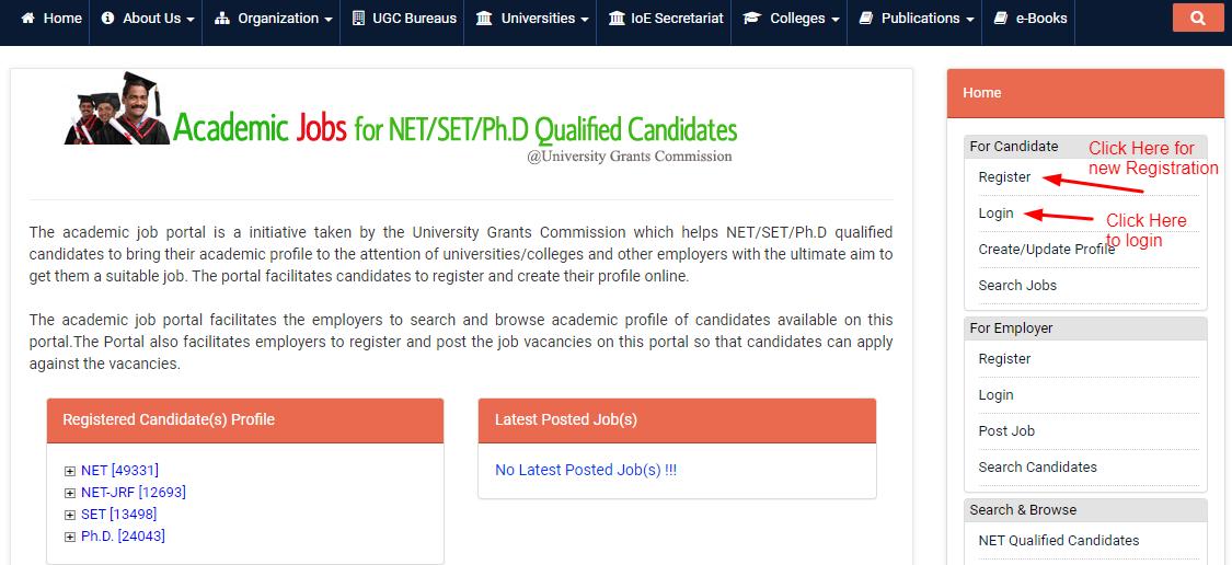 UGC Academic Job Portal login & Registration