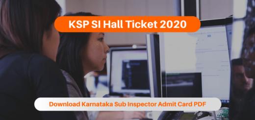 KSP SI Hall Ticket 2020