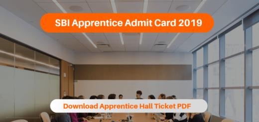 SBI Apprentice Admit Card 2019