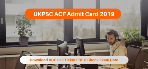 UKPSC ACF Admit Card 2019