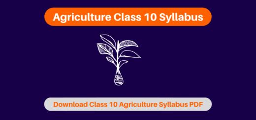 Agriculture Class 10 Syllabus