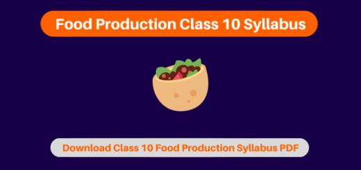 Food Production Class 10 Syllabus