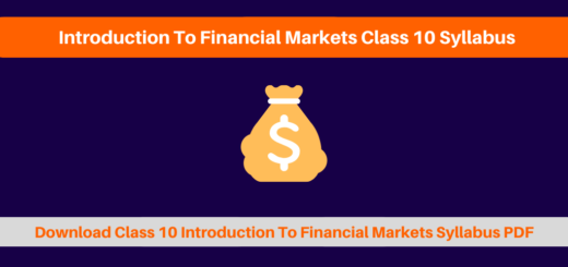 Introduction To Financial Markets Class 10 Syllabus