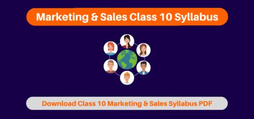 Marketing & Sales Class 10 Syllabus
