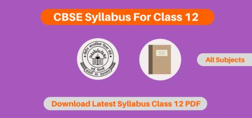 CBSE Syllabus For Class 12