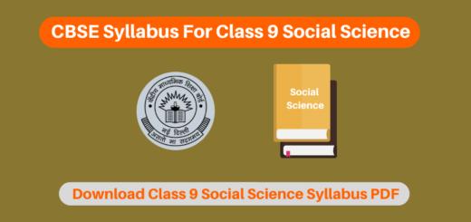 CBSE Syllabus For Class 9 Social Science