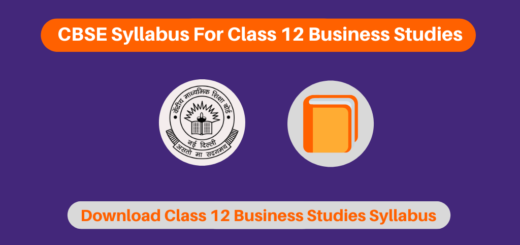 CBSE Syllabus For Class 12 Business Studies