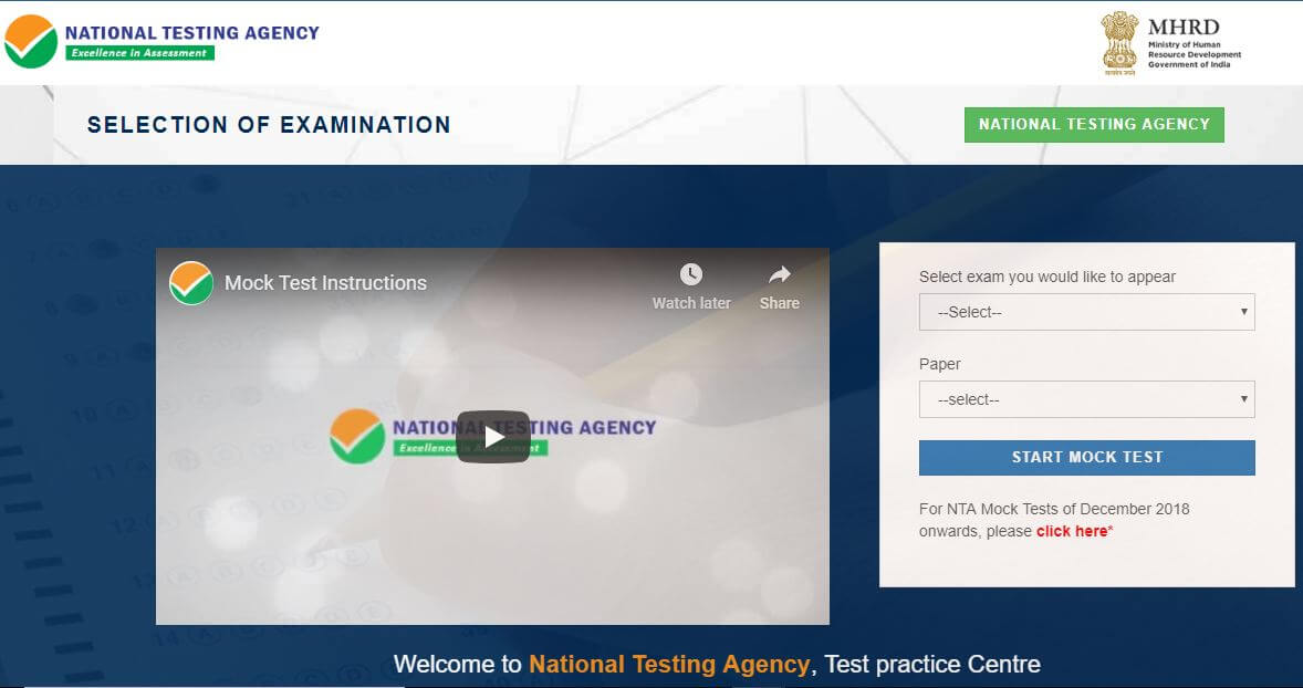 NTA UGC NET Mock Test home