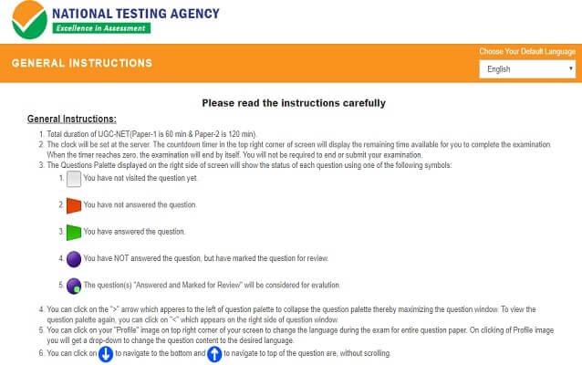 NTA UGC NET Mock Test instructions