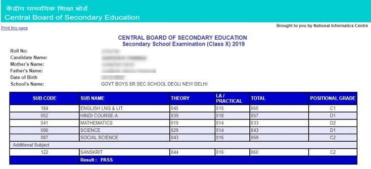 CBSE Class 10 Marksheet Sample