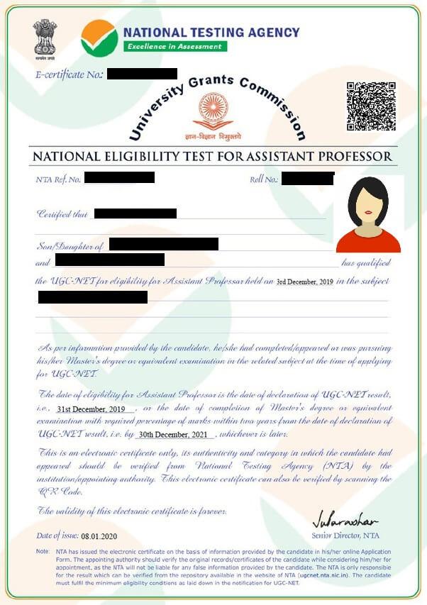 UGC NET certificate sample