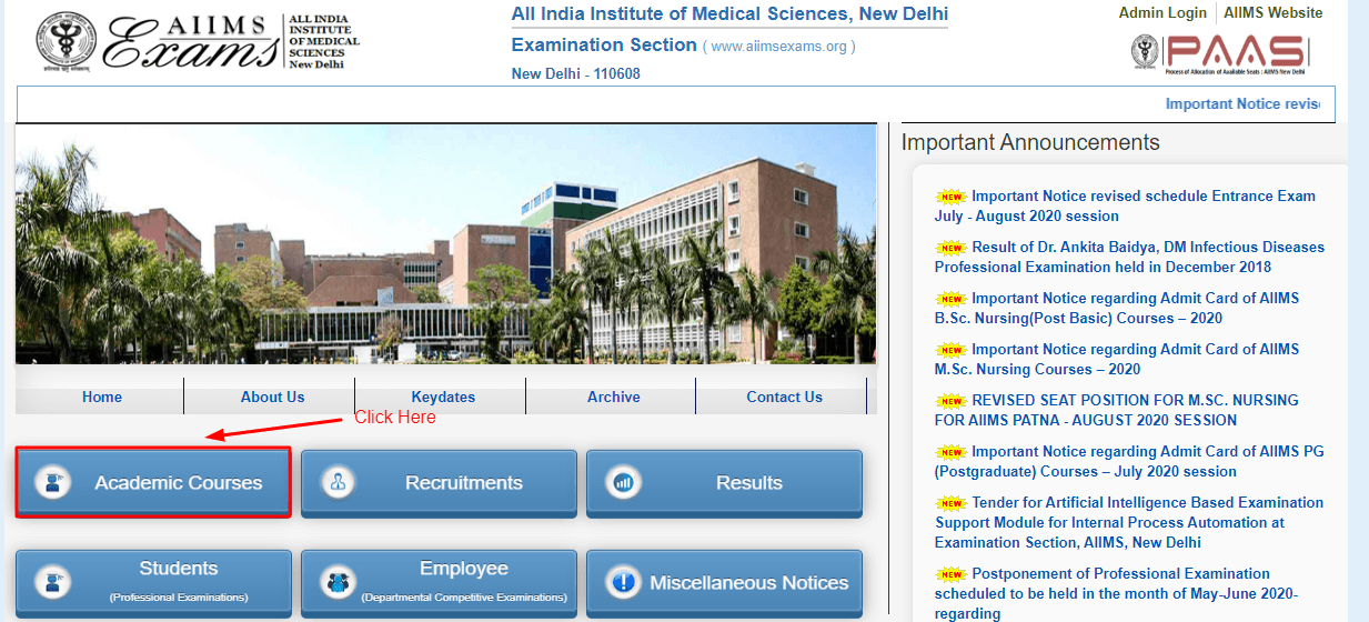 AIIMS official Site