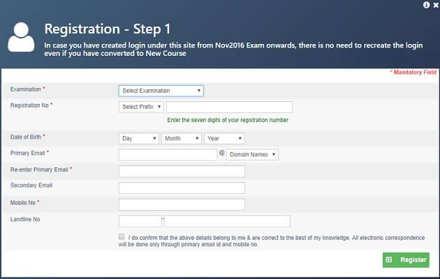 ICAI Registration process