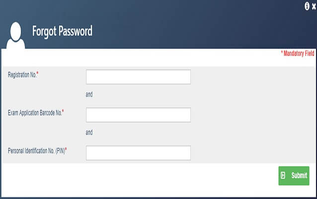 Admit Card Recover password using Registration Number, Bar code and PIN