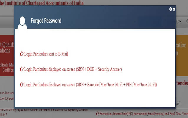 ICAI CA Admit Card recover password