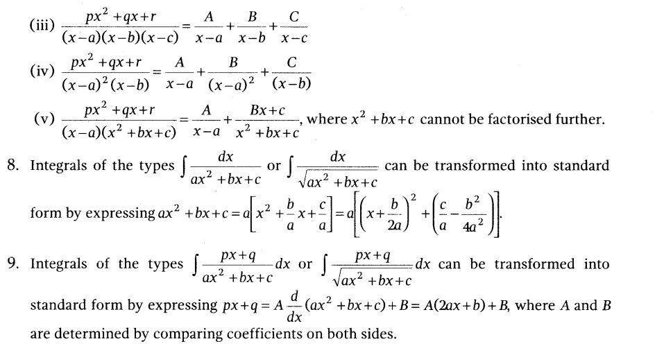 NCERT Solutions for Class 12 Maths Chapter 7 Integrals formula