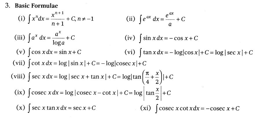 NCERT Solutions for Class 12 Maths Chapter 7 Integrals basic formulas