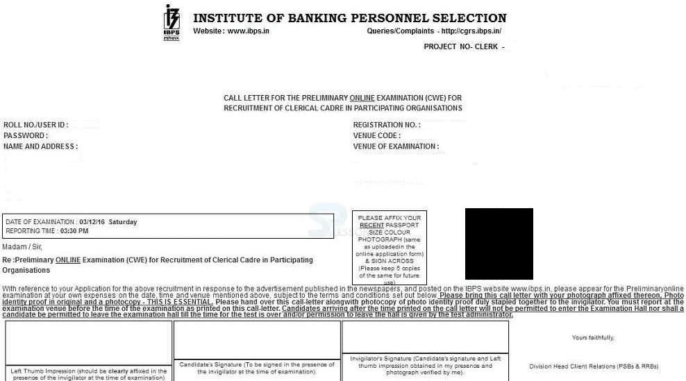 ibps-clerk-pre-admit-card
