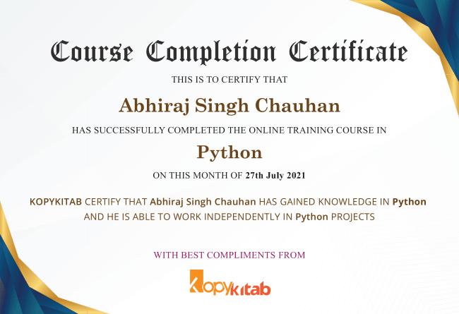 Abhiraj singh certificate