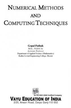 Numerical Methods and Computing Techniques By Gopal Pathak