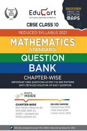Educart CBSE Class-10 Maths Question Bank (Reduced Syllabus) For 2021