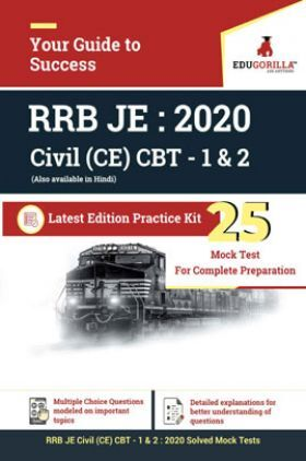 EduGorilla RRB Junior Engineer (JE) Civil CE 2020 - CBT- 1 & 2 - 25 Mock Test - Latest Edition Practice Kit