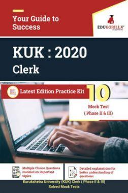 EduGorilla Kurukshetra University (KUK) Clerk - 2020 - 10 Mock Test ( Phase II & III) - Latest Edition Practice Kit