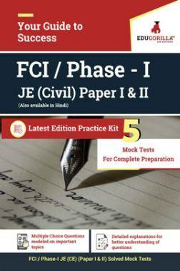 EduGorilla FCI Phase - I JE - Civil Paper I & II - 2020 - 5 Mock Tests
