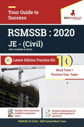 EduGorilla RSMSSB JE (Civil) 2020 - 10 Mock Test + 2 Previous Year Paper (2016) - With Complete Solution