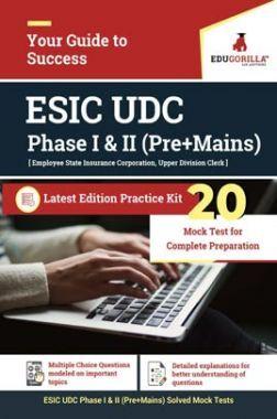 EduGorilla ESIC Upper Division Clerk (UDC) (Phase I & II) Recruitment Exam   20 Mock Test