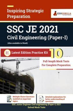 SSC JE 2021 Civil Engineering (Paper I)   10 Full Length Mock Tests For Complete Preparation